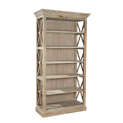 weathered pine open bookcase