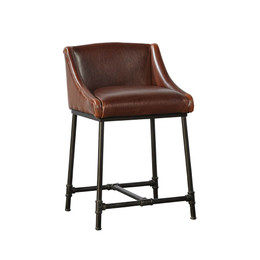 iron pipe leather bar stool