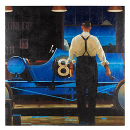 vintage race car oil painting