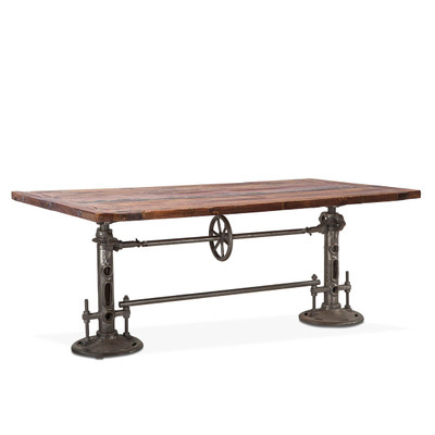 vintage industrial wood dining table