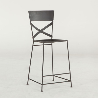industrial cross back metal stool