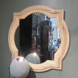 square pine wood wall mirror