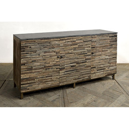 reclaimed wood and stone console