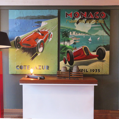 vintage racing car painting