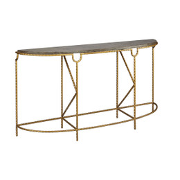 stone and brass console table