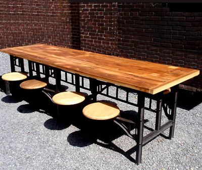Vintage Industrial Reclaimed Wood Dining Table