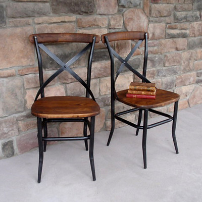 Cross Back Wood Chair