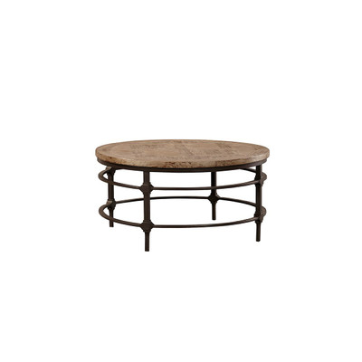wood and iron round coffee table