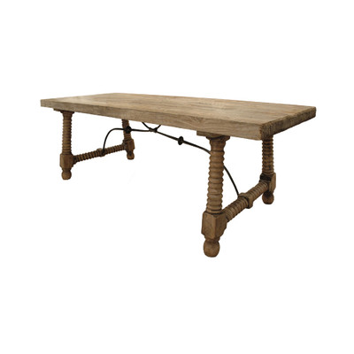 reclaimed wood spindle dining table