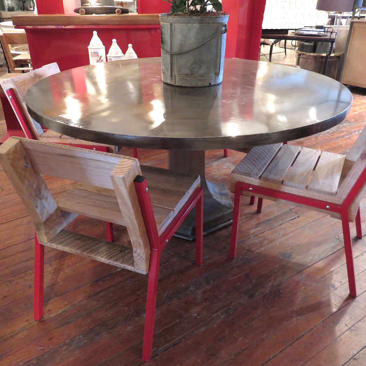 Vintage Industrial Iron Pedestal Dining Table