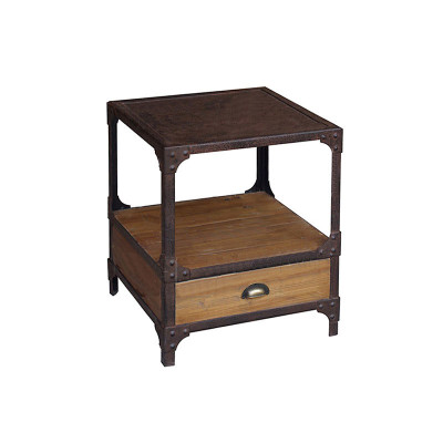 wood and iron side table