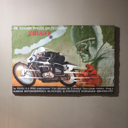 vintage motorcycle oil painting