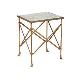 glass and brass side table