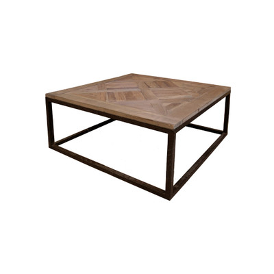 wood parquet top coffee table