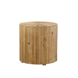 wood sunburst side table