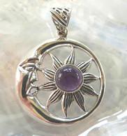 Amethyst Sun & Moon Sterling Silver Pendant
