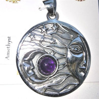 Celestial Sun & Moon Sterling Silver Pendant with Choice of Gemstone