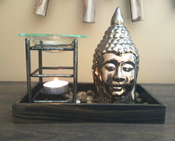 Mini Altar with Ceramic Buddha and Glass Oil Warmer