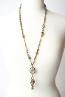 "Crisp Autumn 29-31"" Crystal Tassel Focal Collage Necklace"
