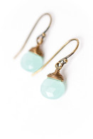 Crisp Autumn Chalcedony Briolette Earrings