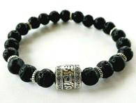 Lava Bracelet with Tibetan Prayer Wheel Bead