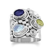 Iolite, Peridot & Blue Topaz Ring