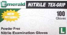 The Emerald Nitrile Powder-Free Tex-Grip Exam glove uses Soft Stretch Modulus Technology to provide a second-skin comfort level. This latex-free, powder-free, textured glove offers the very best in tactile sensitivity, chemical resistance, and blood-borne pathogen protection. The Emerald Nitrile Powder-Free Tex-Grip Exam glove reduces hand fatigue and has superior tensile strength. 100 gloves per dispenser box, 10 boxes per case, except for XXL, 90 count.
