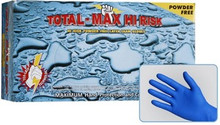 Total Max Hi-Risk 15 mil blue latex gloves are extra-thick, making them ideal for emergency services, health professionals, police, and technicians. Manufactured from premium exam grade latex, chlorinated, and PH balanced for easy donning, these glove are made of premium quality low modulus latex for greater comfort. Total Max Hi-Risk latex gloves are designed to give solid protection while providing the tactile sensitivity of examination gloves. Packaging: 50 gloves/box. 10 boxes per case.