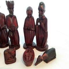 Fair Trade Carved Jacaranda Wood Nativity Set from Uganda