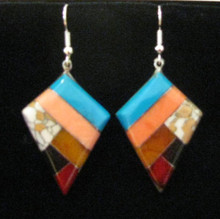 Fair Trade Stone Mosaic and Pewter Earrings from Mexico