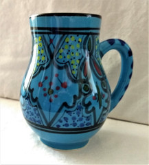 Fair Trade Hand Painted Ceramic Mug with Sabine Pattern from Tunisia