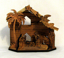 Fair Trade Laser Cut Olive Wood Nativity from the Holyland