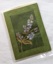 Fair trade batik Forget Me Not note card from Nepal