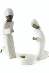 Fair Trade Springstone and Metal Holy Family Nativity from Zimbabwe