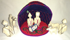 Fair Trade Felted Wool Nativity Set with Open Yurt from Kyrgyzstan