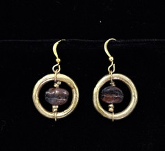 Fair Trade Coffee Bean and Brass Bullet Casing Bead Earring from Ethiopia