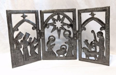 Fair Trade Recycled Steel Drum Nativity Triptych from Haiti