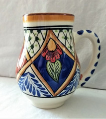 Fair Trade Hand Painted Ceramic Mug with MarascaPattern from Tunisia