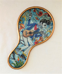"Fair Trade Reverse Glass Day of the Dead 'Elvis"" Mirror from Peru"