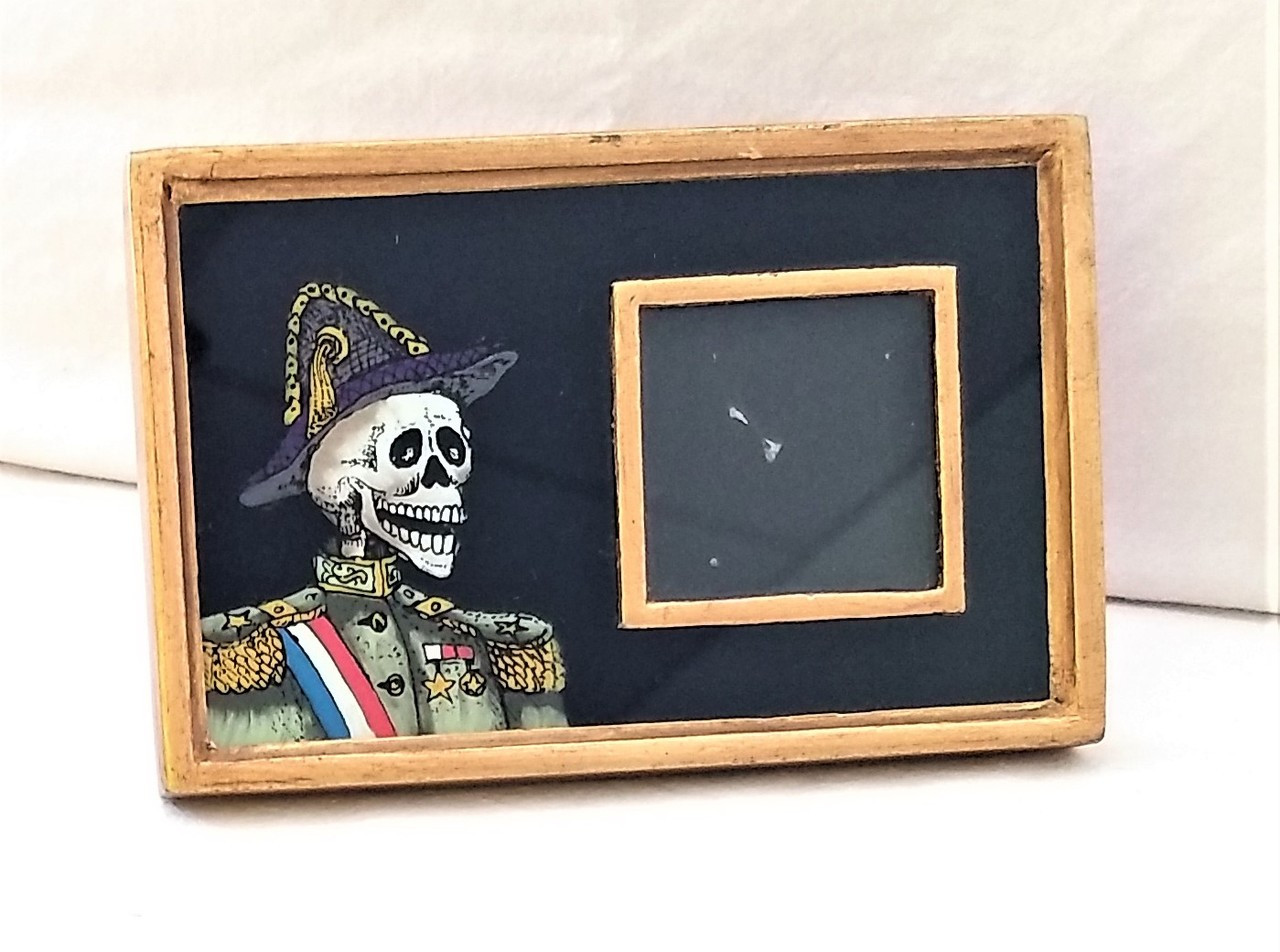 Black Reverse Glass Painted Day Of The Dead Mini Frame From Peru