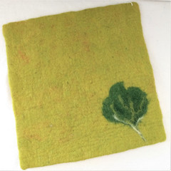Fair Trade Needle Felted Wool Square Trivet / Potholder from Kyrgyzstan