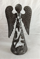 Fair Trade Recycled Steel Drum Angel with Nativity Scene from Haiti