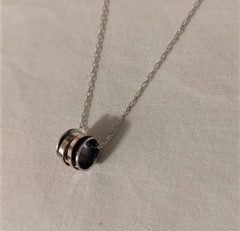 Fair Trade Sterling and Rose & 9K Gold Swivel Cylinder Necklace from Israel