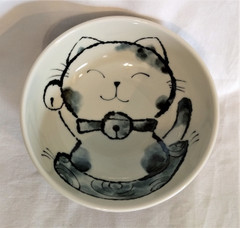 Fair Trade Ceramic Cat Bowl from Japan