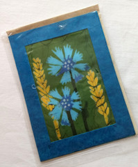 Fair Trade Batik Cornflower Note Card from Nepal