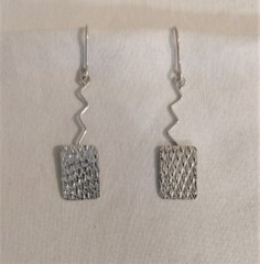 Fair Trade Sterling Embossed Rectangular Earrings from Peru