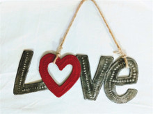 Fair Trade Recycled Steel Drum Love Wall Hanging