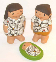 Fair Trade Hand Painted 3 Pc Ceramic Shipibo Nativity from Peru