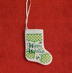 Fair Trade Cross Stitch Stocking Christmas Ornament Made by Syrian Women