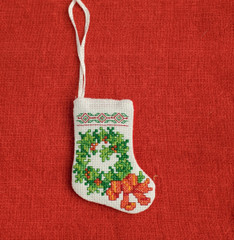 Wreath Cross Stitch Stocking Ornament